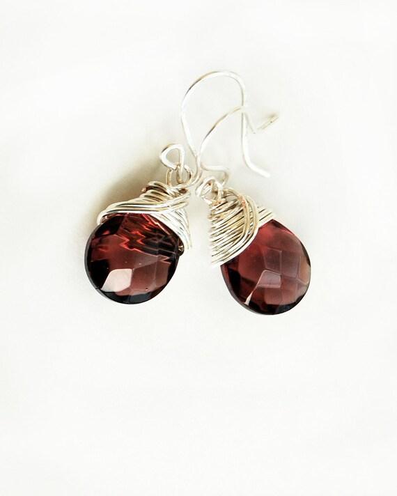 Earrings wire briolette Chianti wine's drops