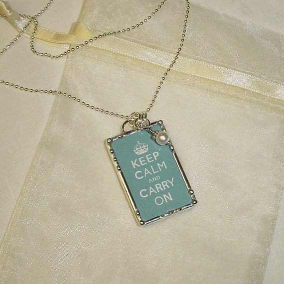 Keep Calm and Carry On reversible everyday necklace in chocolate brown and chambray blue