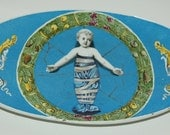 Rare 1920 Painted  Blue Ceramic Dish with markings