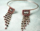 N e f e r t a r i -ON SALE TILL DECEMBER 1- pink garnet, smoky quartz - copper necklace\/choker