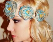 The Azure - Trendy Turquiose Rolled Rose Elastic Headwrap or Headband