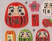 Emergency Relief JAPAN   MIND WAVE Daruma Dharma Dolls Stickers for Good Luck