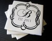 Personalized Coasters, Ceramic Tile, Custom Wedding Date, Monogrammed Set of 4.
