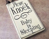Please Knock Sign, Baby is Sleeping Small Rectangle...