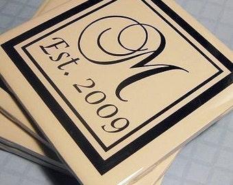 Est. Monogram Coasters- Set of 4..