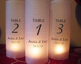 Wedding Table Number Luminary, Text Background Set of 12,.