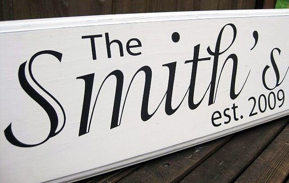 Personalized Family Name Wood Sign, Custom Wedding Sign, Established Date..