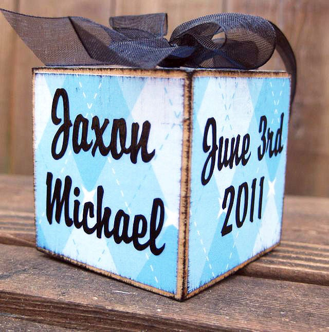 First Christmas Personalized Baby Boy Block Ornament Custom