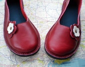 SALE... UK 7, Handmade leather shoes, D fitting, Berry red PETAL