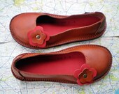 UK 3, Handmade leather shoes, D fitting, Rust, Red, PETAL by Fairysteps 1602