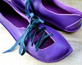 RESERVED UK 8 Handmade Leather Fairy Shoes in Violet, PUCK 1828