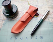 Handmade Leather Pen Case, Fountain pen case, Orange juice NIB