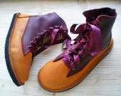 RESERVED... Size 7, Handmade leather Vintage Fairytale boots, D fitting, Pumpkin, Garnet, OPHELIA by Fairysteps 1983