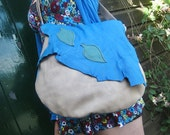 RESERVED... Handmade Leather Large bag, in Pacific Blue and Sandstone leather with fairy leaves, by Fairysteps POD 1950
