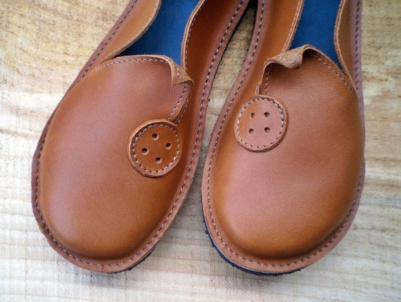 SALE UK 4, Bohemian Fairy, handmade shoes, D fitting, Tawny toffee leather, BOTTOM