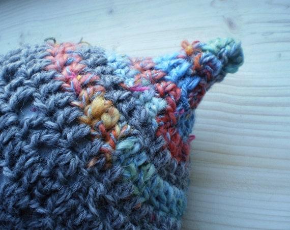 Crochet Beret hat in Thunder Grey with Handspun tip, ESME by Fairysteps.