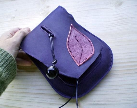 Handmade leather hip pouch, belt bag, Bohemian Fairy, Violet, pink dragon, JINKS by Fairysteps 1996