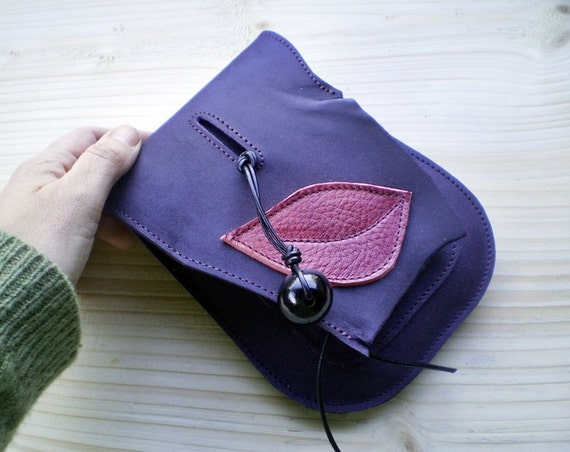 Handmade leather hip pouch, belt bag, Bohemian Fairy, Violet, pink dragon, JINKS by Fairysteps 1991