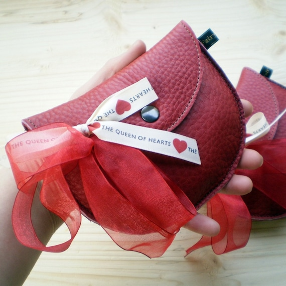 Handmade Leather clutch Purse, Bag, Ladybird red leather PIPKIN ribbon by Fairysteps 2064