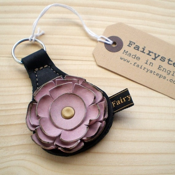Handmade leather Key Fob, Key ring, Black, palest petal pink leather, RAGGLEBLOOM by Fairysteps