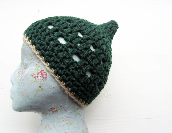 Crochet Beret hat in Deep Forest Green, BINKLE by Fairysteps.