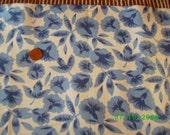Vintage Cotton Feedsack  Blue Morning Glories  on White