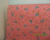 Vintage Cotton Fabric  Blue Roses on Pink /Feedsack Print