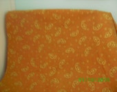Vintage Cotton Fabric   Gold Paisley on Mustard Gold Background