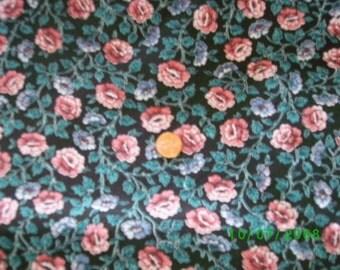 Vintage Cotton Quilt Fabric Pink Rose & lavender Floral on Black