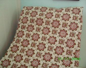 Vintage Cotton Quilt Fabric  Pink , Cocoa & Taupe on Cream Feedsack Print