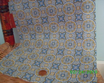 Vintage  Cotton Quilt Fabric Blue & Yellow Medallion Print On Blue