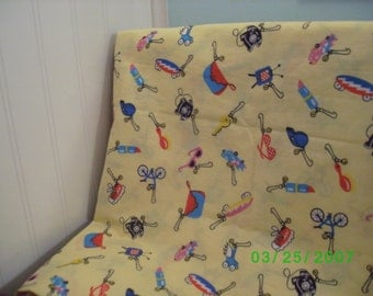 Cotton Quilt  Fabric  Novelty Print on Yellow 18 x 21