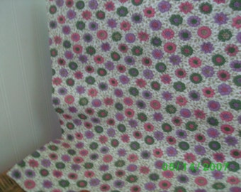 Vintage Cotton Quilt Fabric Pink Lavender & Green Floral on White Feedsack Print