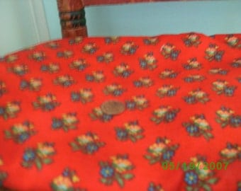 Cotton Quilt Fabric  Blue Floral on Red Background