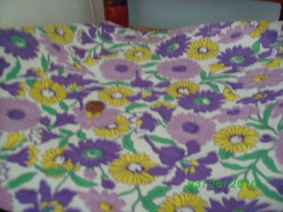 Vintage Cotton Feedsack  Lavender Yellow & Purple Daisys on White