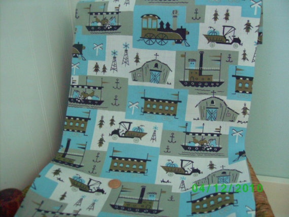 Vintage Cotton Novelty Quilt Fabric  Blues Gray Olive & White