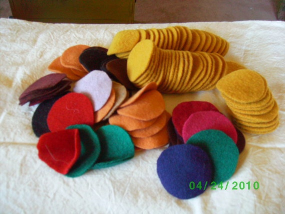 Stash Builder Mixed Lot of  100  Felted Wool  Penny Rug Circles 2 Inch  Primitive Mix