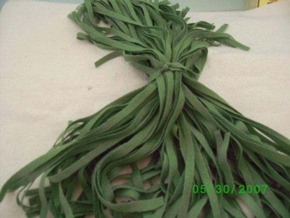 100   Hand Dyed Wool Rug Hooking Strips Pea Pod Green