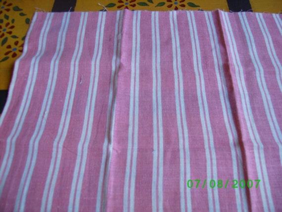 Scrap Bag Vintage Feedsack Pink & White Stripe