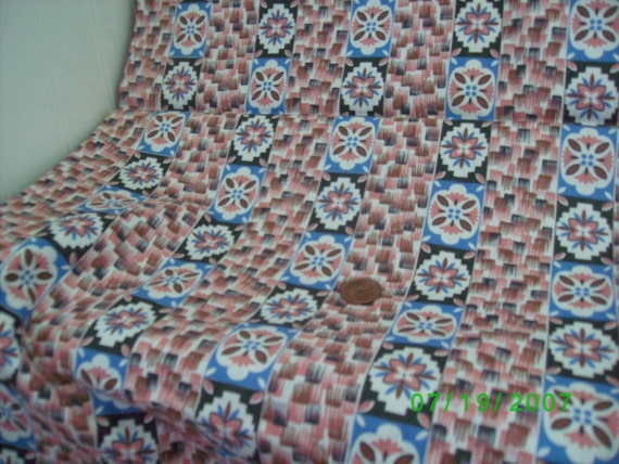 Vintage Cotton Quilt  Fabric  Pink &  Blue Floral Stripe on White Feedsack Print