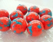 Handmade Polymer Clay Crumble Beads- Bright Red and Turquoise