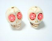 Red Flower Eyes Ivory Howlite Skull Beads