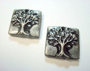 Little Trees of Life Square Polymer Clay Beads