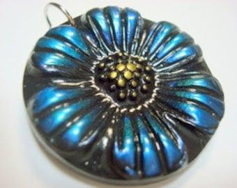 Blue Daisy Handmade Polymer Clay Pendant