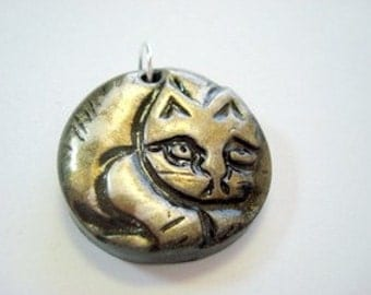 Black and Metallics Curled Up Cat Handmade Polymer Clay Pendant