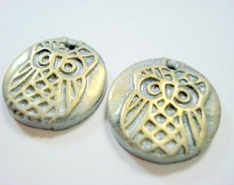 Little Silver and Sunset Gold Owl Polymer Clay Focal Beads