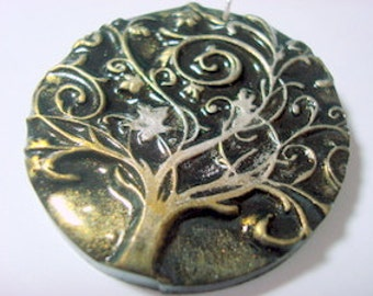 Twirly Tree of Life Handmade Polymer Clay Pendant