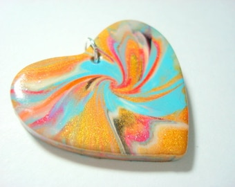 Swirled Gold, Turquoise, and Coral Handmade Polymer Clay Heart Pendant