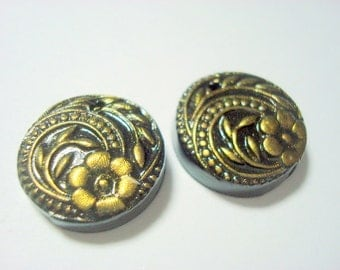 Little Black and Gold Flower Button Handmade Polymer Clay Beads