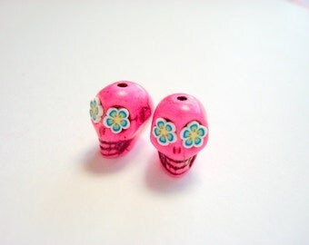 Tiny Flower Eyes in Turquoise Day of The Dead Skull Beads-12mm
